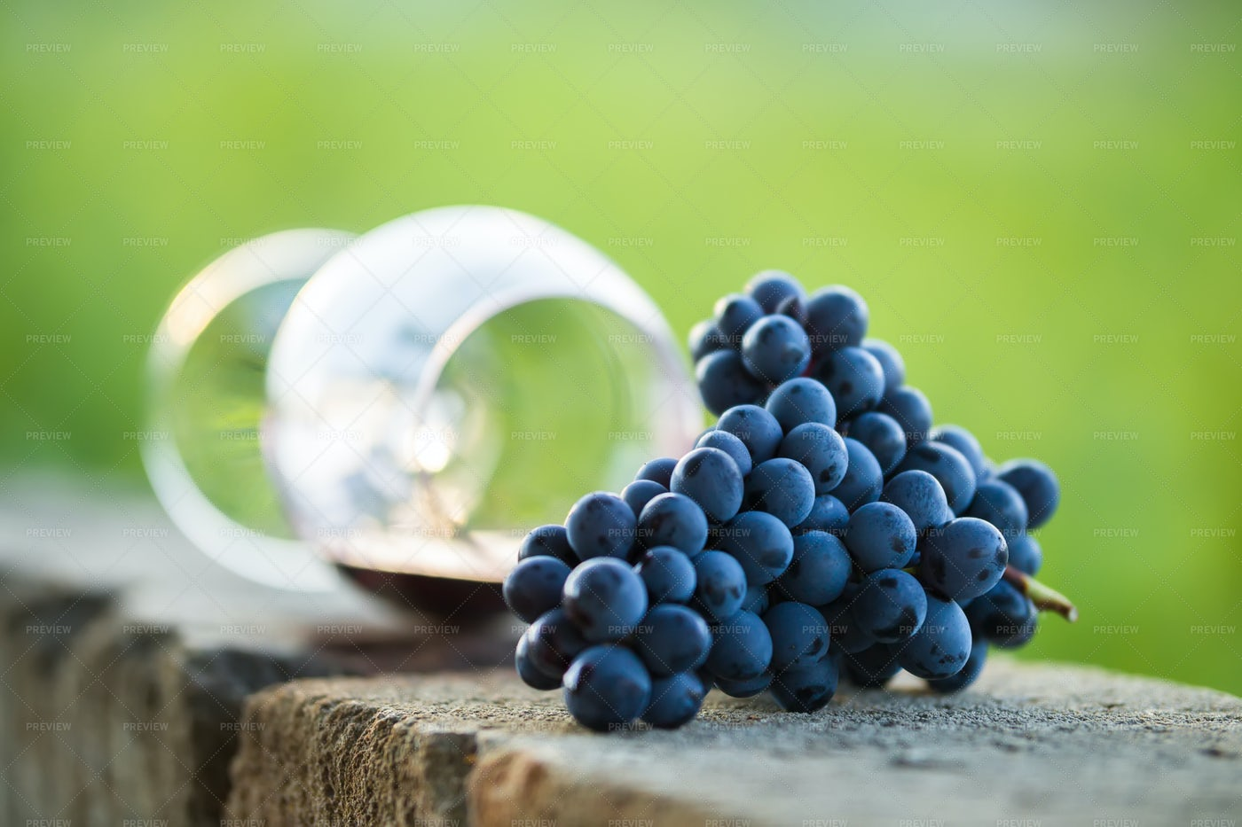 Glass Of Red Wine With Purple Grapes: Stock Photos