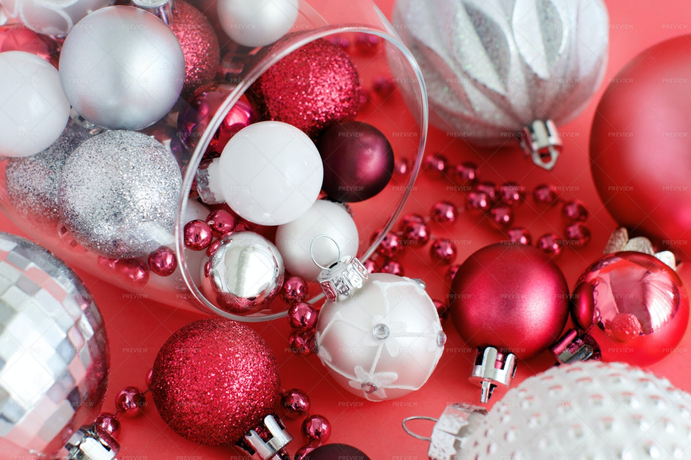 Christmas Decorations On Red: Stock Photos