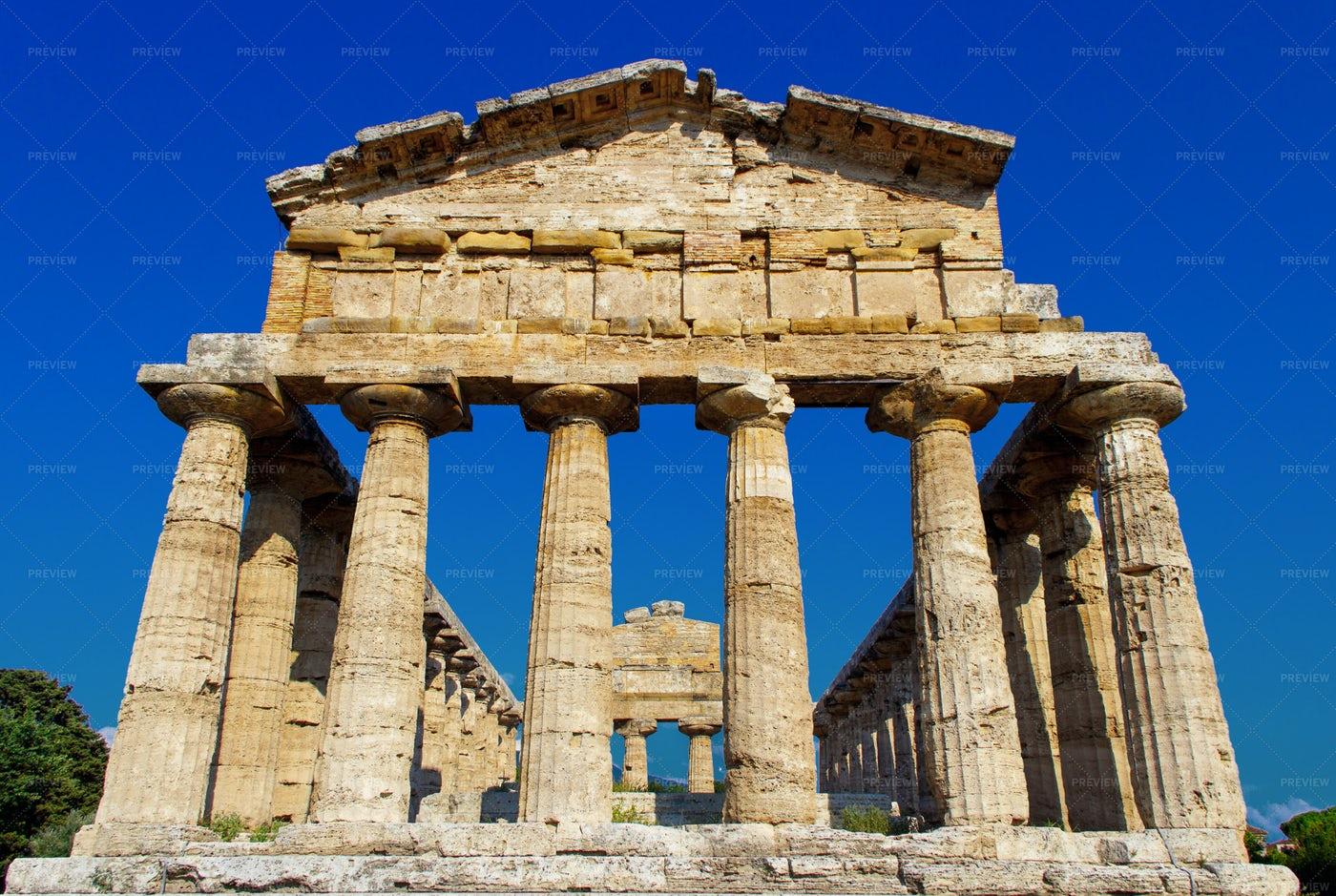 Greek Temple In Paestum, Italy: Stock Photos