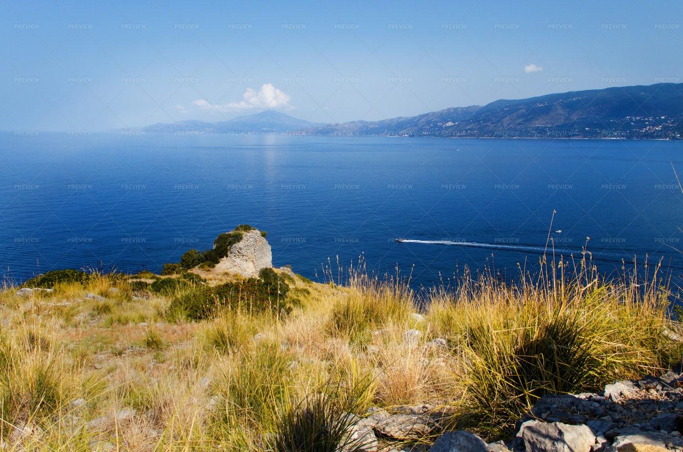 Panoramic View Near Palinuro, Italy: Stock Photos
