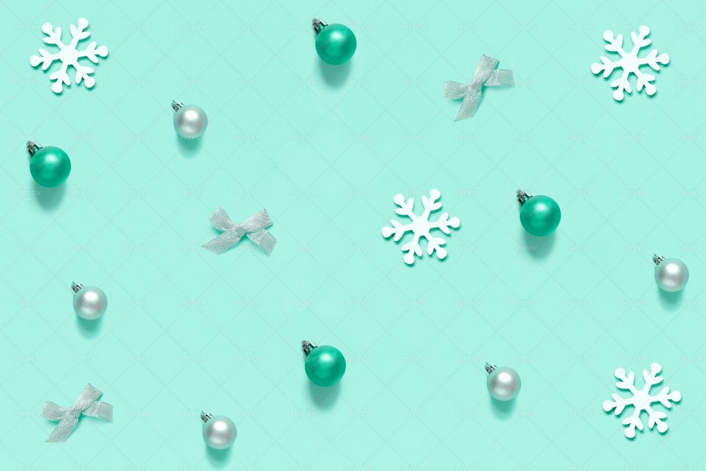 Christmas Decorations On Light Green: Stock Photos