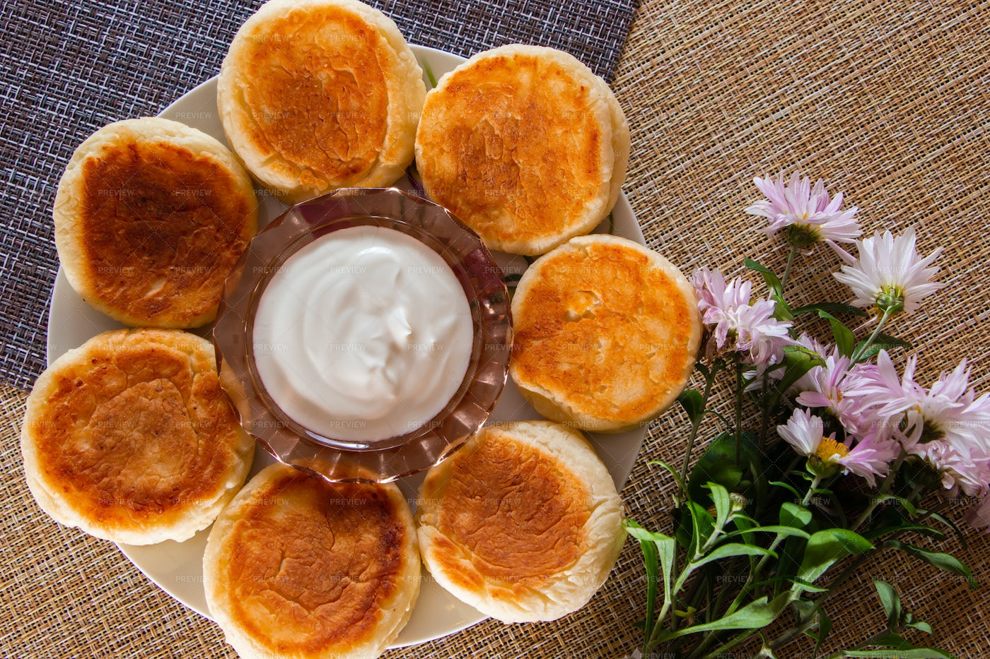 Cottage Cheese Pancakes: Stock Photos