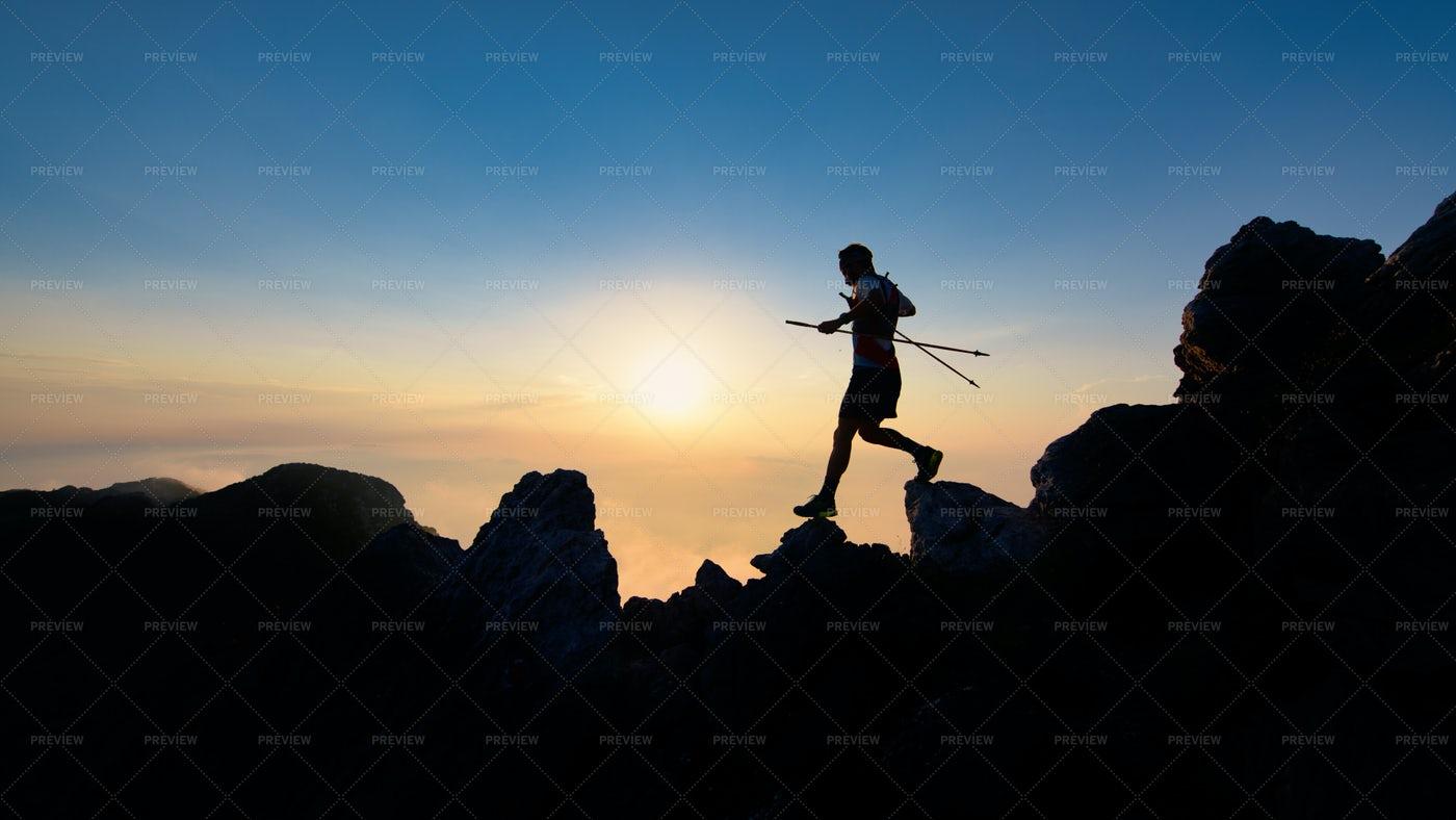 Sunset Silhouette Of Skyrunner: Stock Photos