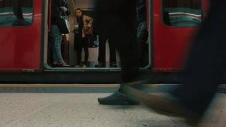 Commuters Boarding Underground Train: Stock Video