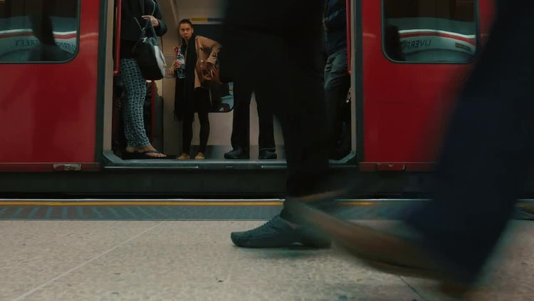 Commuters Boarding Underground Train: Stock Video