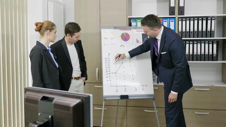 Boss Explaining Something To Employees: Stock Video