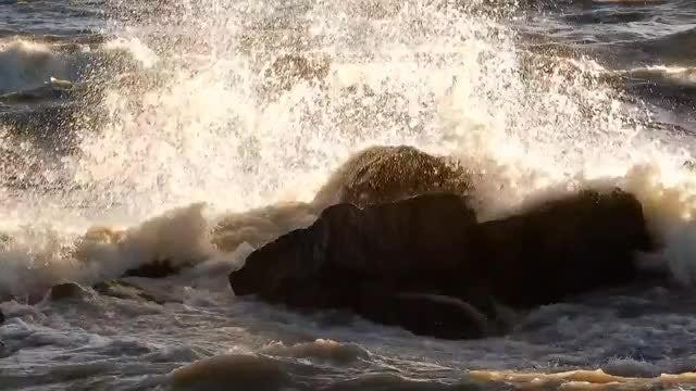 Waves Crashing Into A Rock : Stock Video