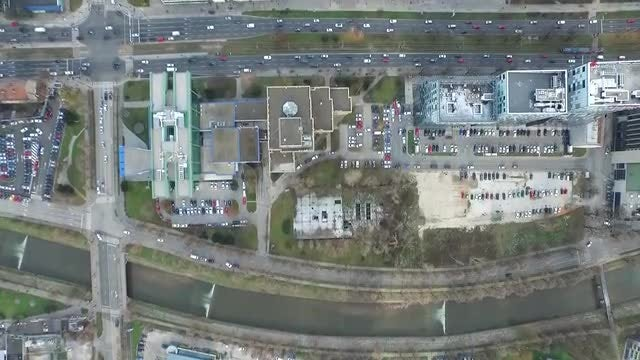 City And Traffic Aerial View: Stock Video