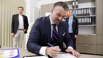 Signing Documents In The Office: Stock Video