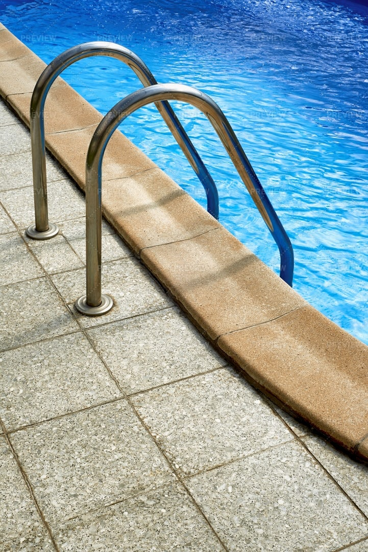 Stepladder To The Pool: Stock Photos