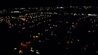 Flying Over City At Night: Stock Footage