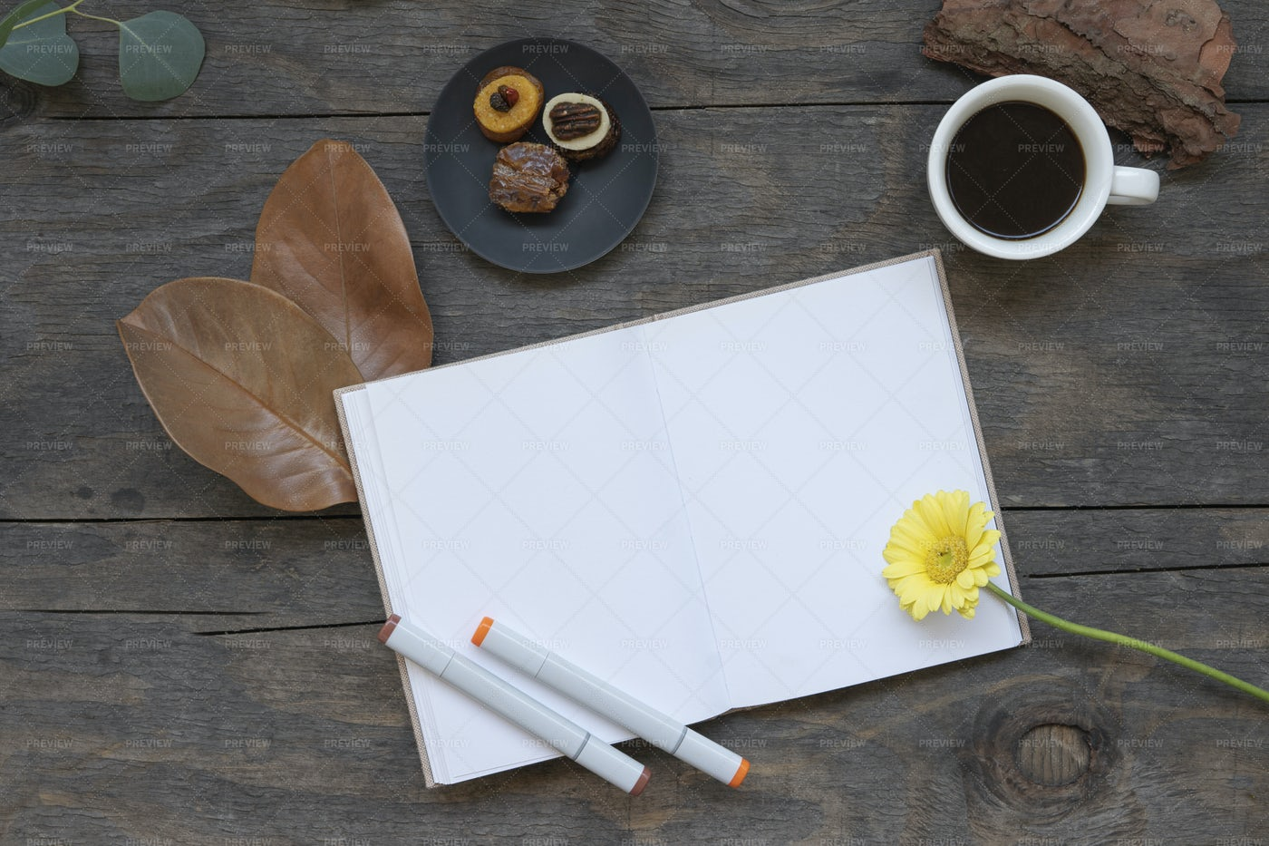 Blank Notebook And Coffee: Stock Photos