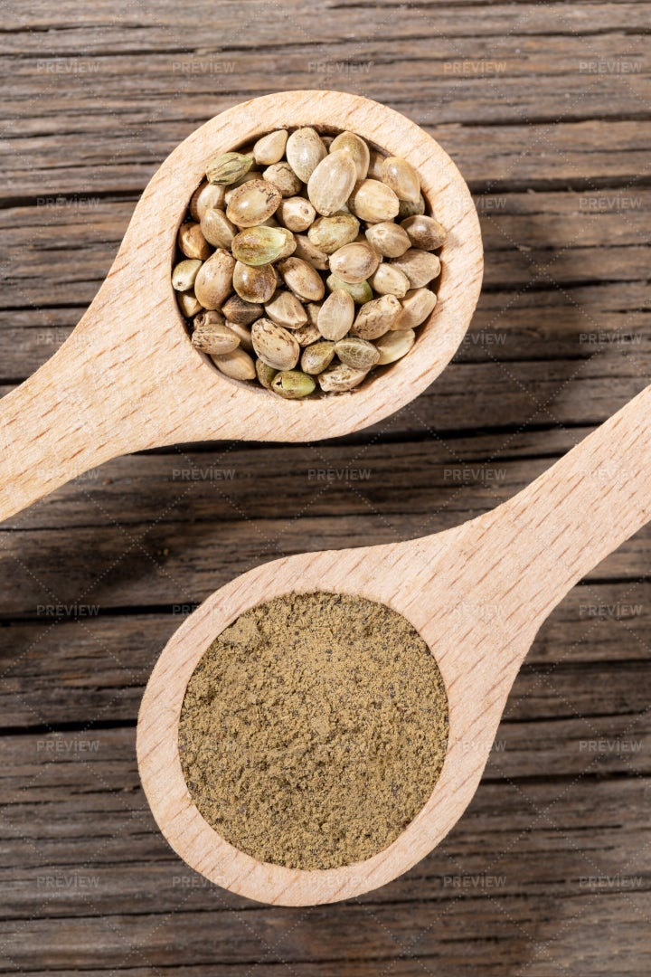 Spoonfuls Of Hemp Seeds: Stock Photos