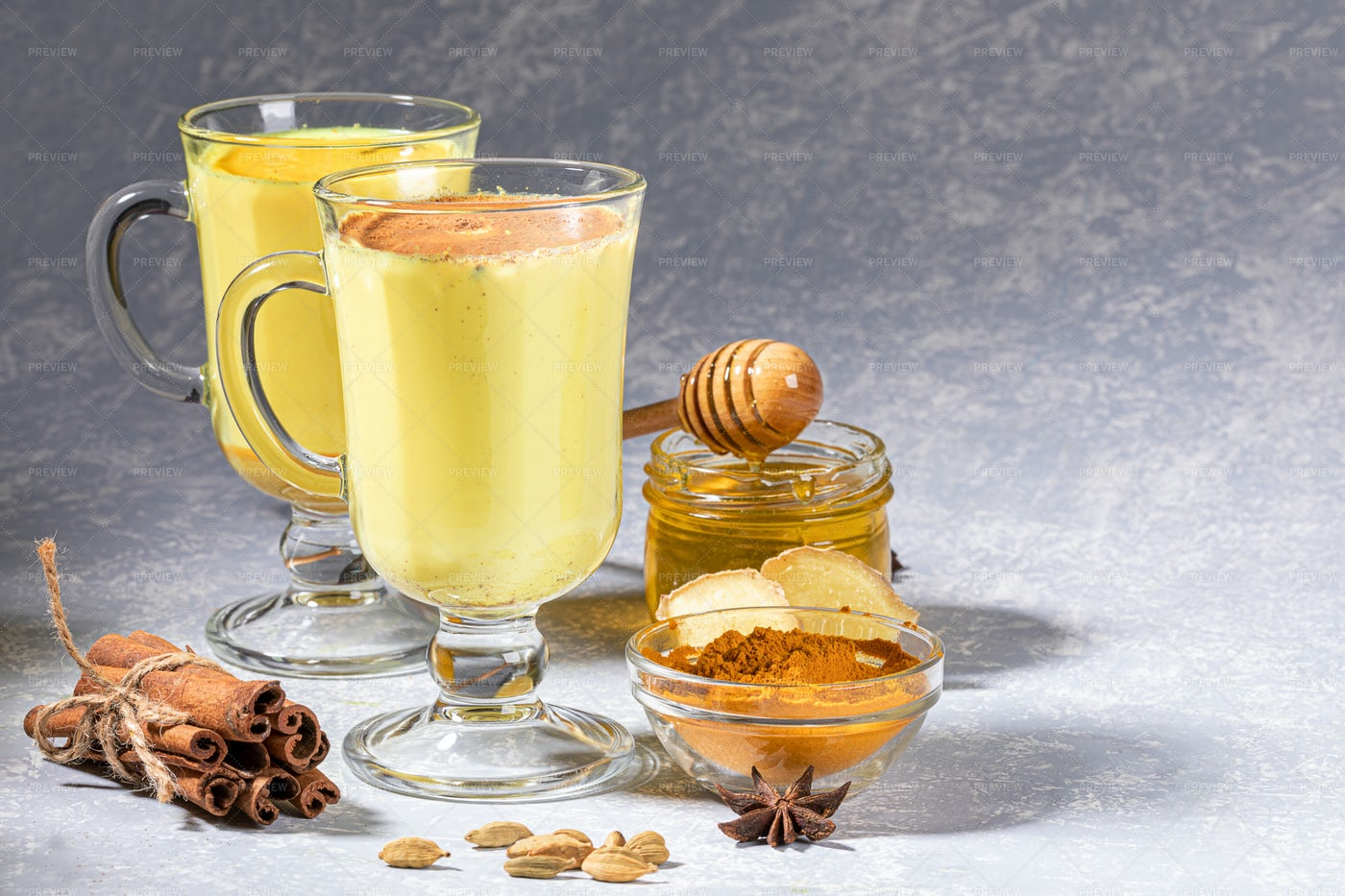 Two Glasses Of Golden Milk: Stock Photos