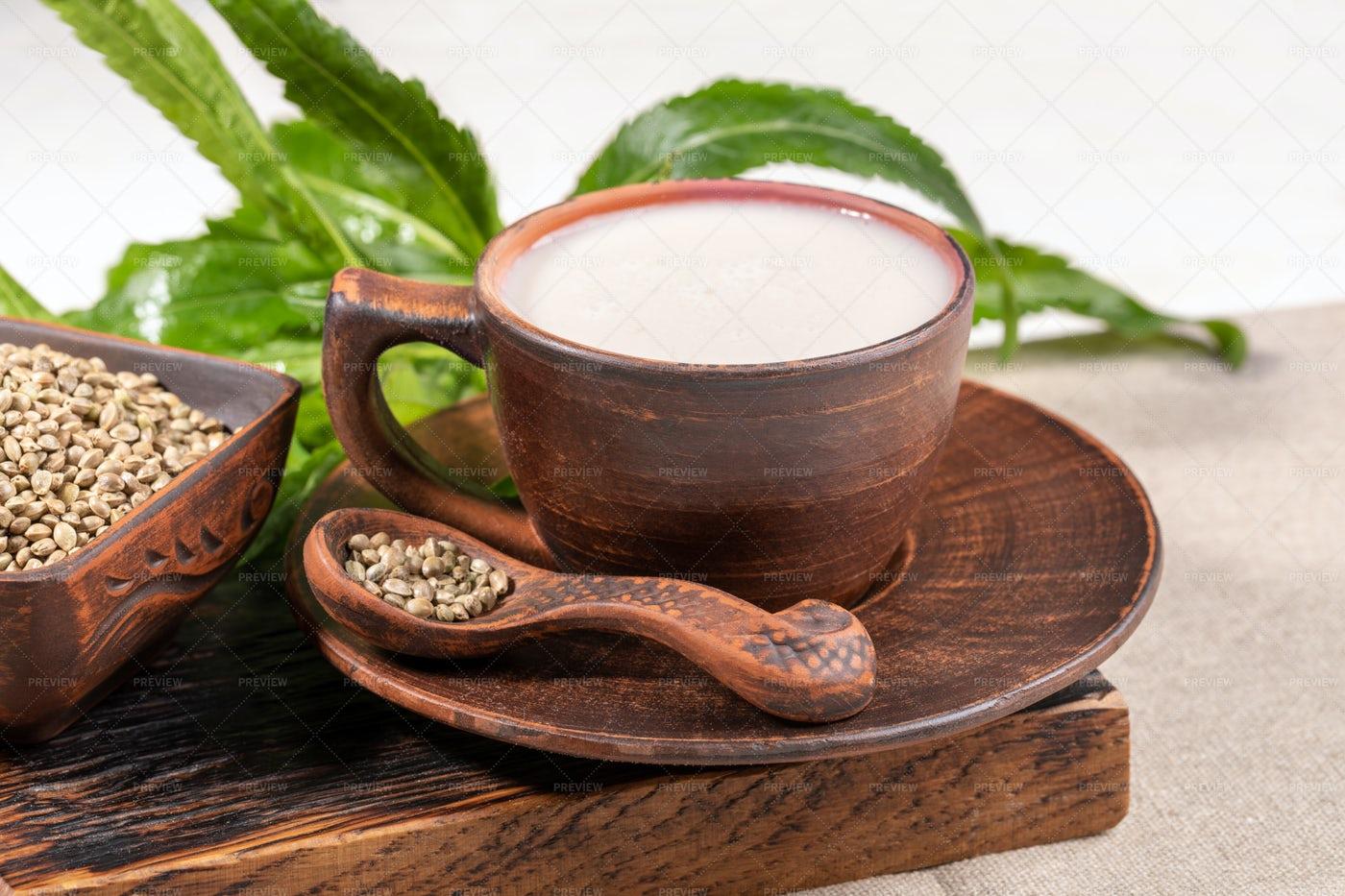 Hemp Milk In A Ceramic Cup: Stock Photos