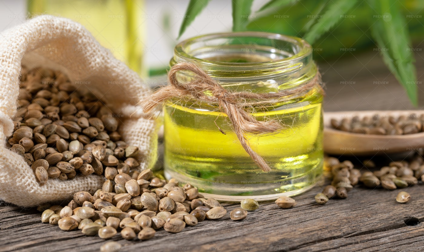 Glass Jar Of Hemp Oil: Stock Photos
