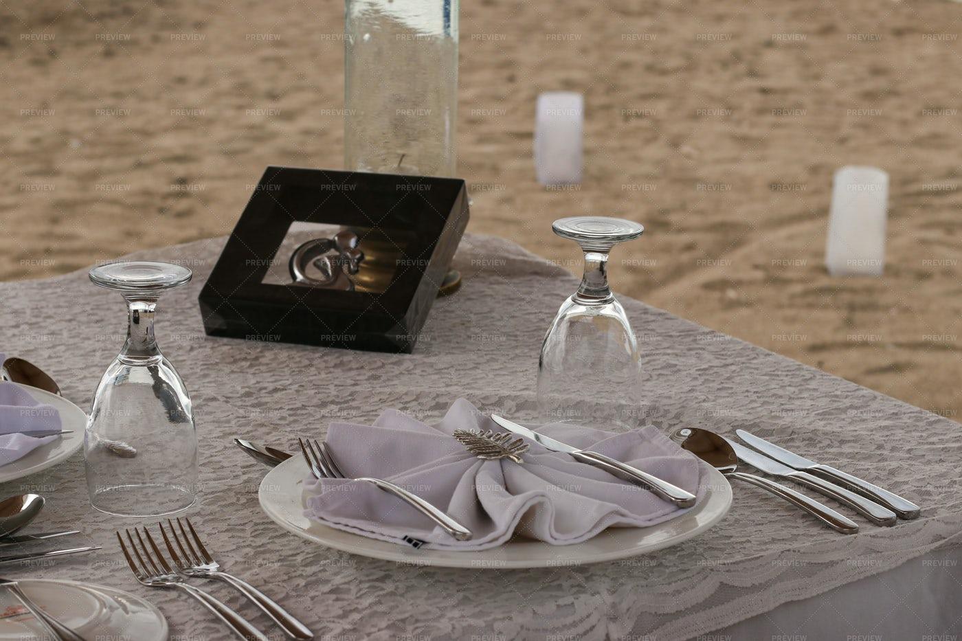 Romantic Beach Dinner: Stock Photos