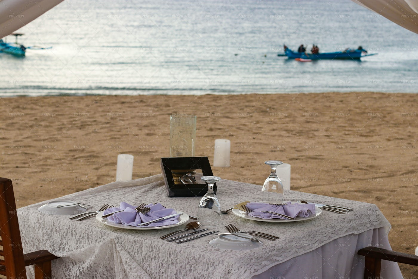 Romantic Dinner By The Ocean: Stock Photos