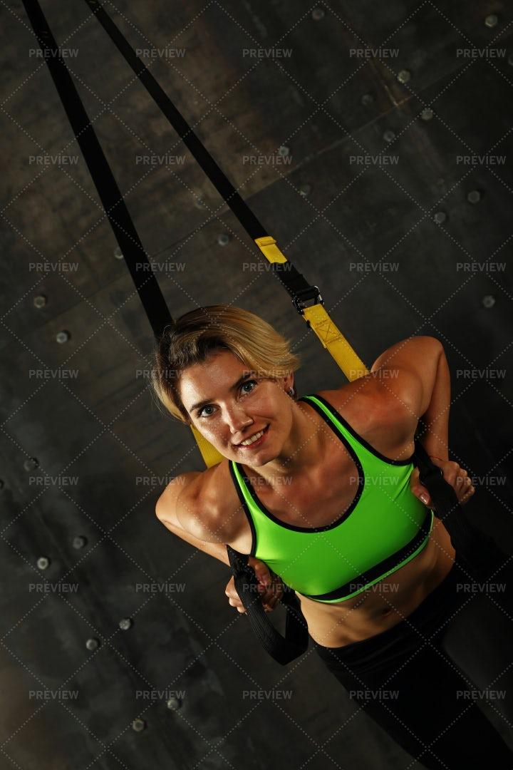 Woman Exercising With Trx: Stock Photos