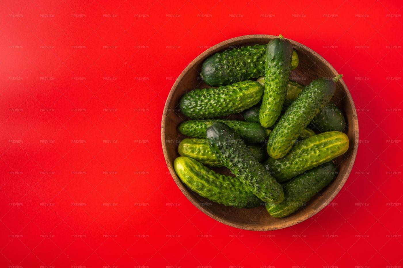 Fresh Cucumbers In Bamboo Bowl: Stock Photos