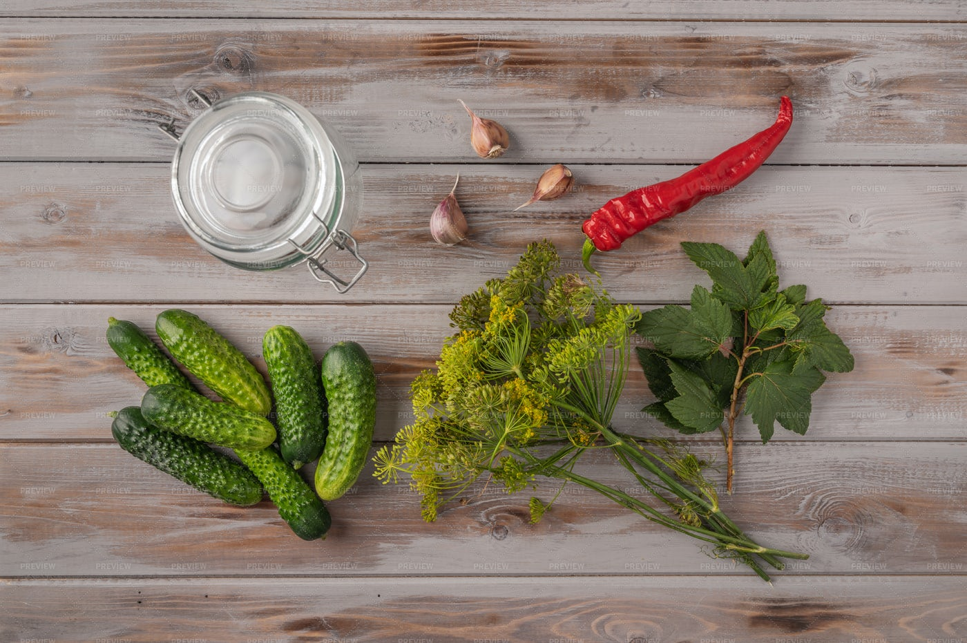 Fresh Cucumbers And Jar Background: Stock Photos