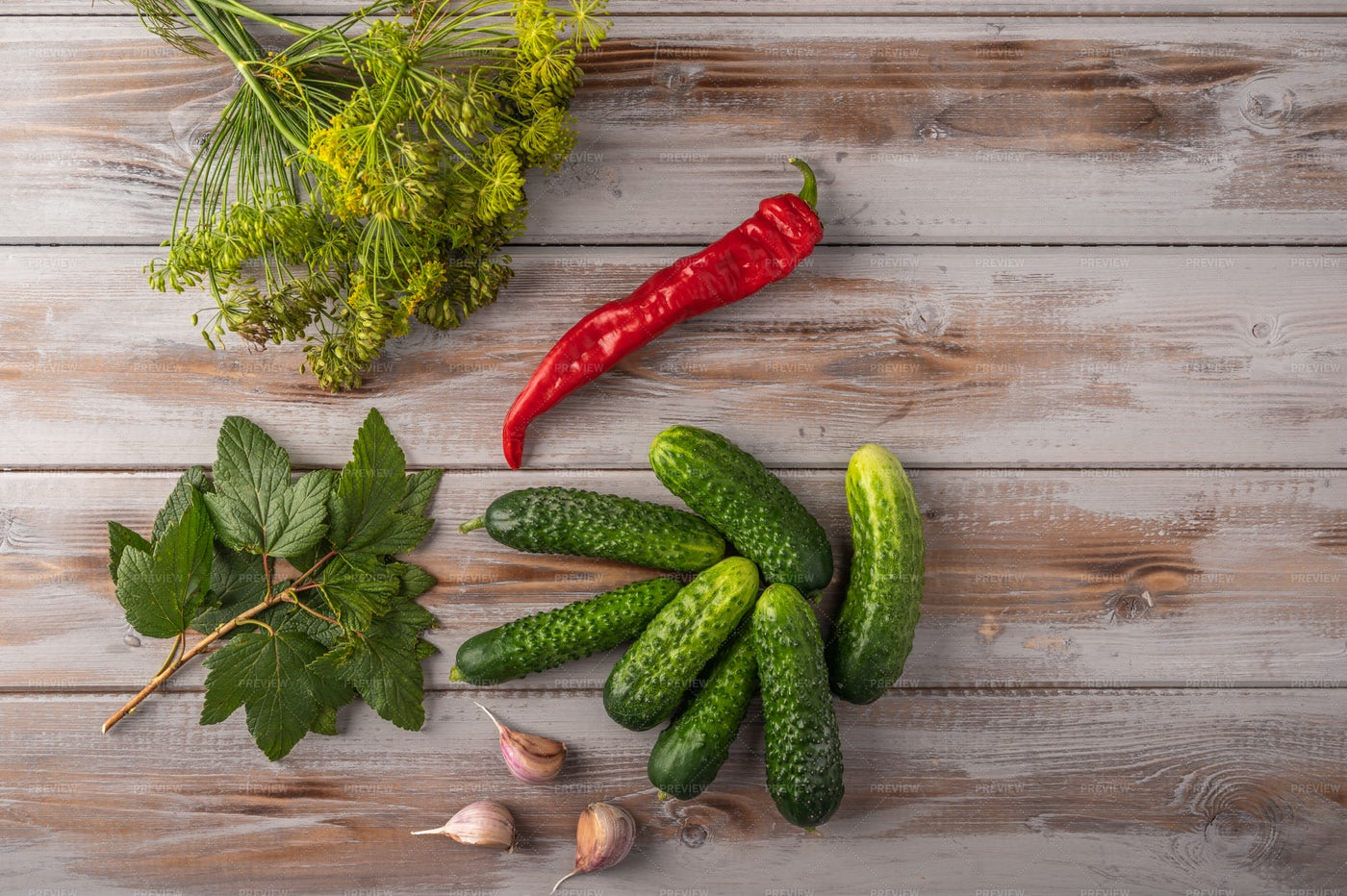 Cucumber Pickling Background: Stock Photos