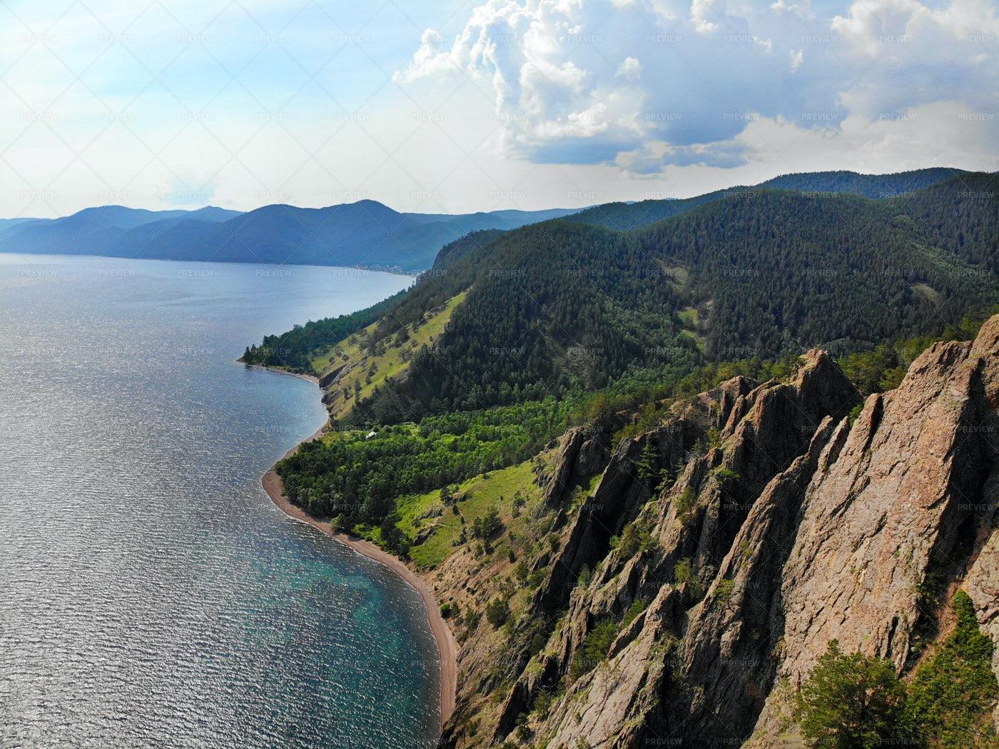 Lake Baikal And Skriper Rock Aerial: Stock Photos