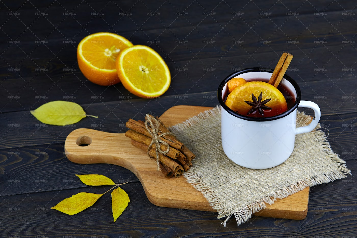 Mulled Wine On Cutting Board Background: Stock Photos