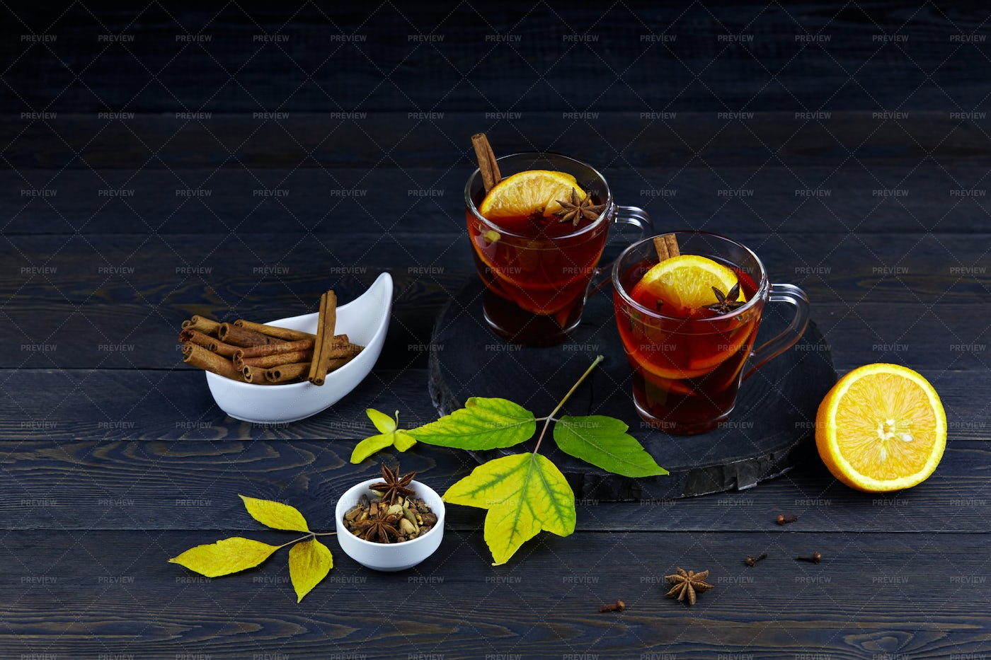 Two Glasses Of Mulled Wine: Stock Photos