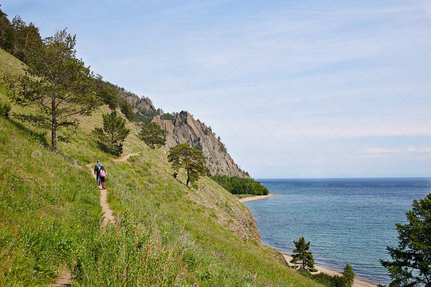 Great Baikal Trail Hikers: Stock Photos