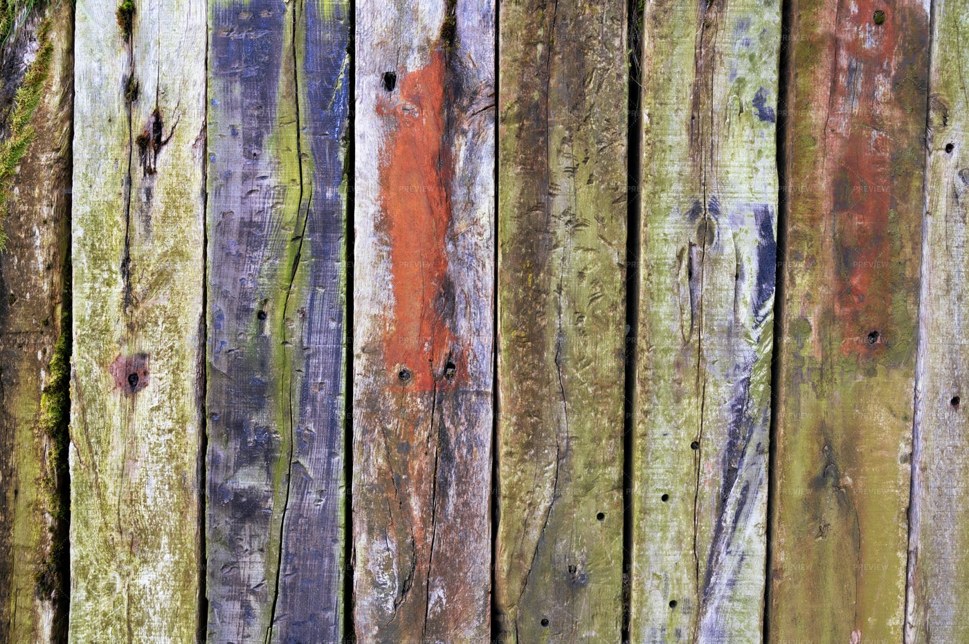 Colorful Wooden Fence Background: Stock Photos