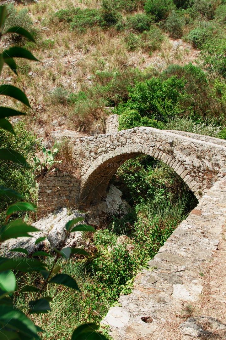Medieval Bridge, Auso River, Italy: Stock Photos