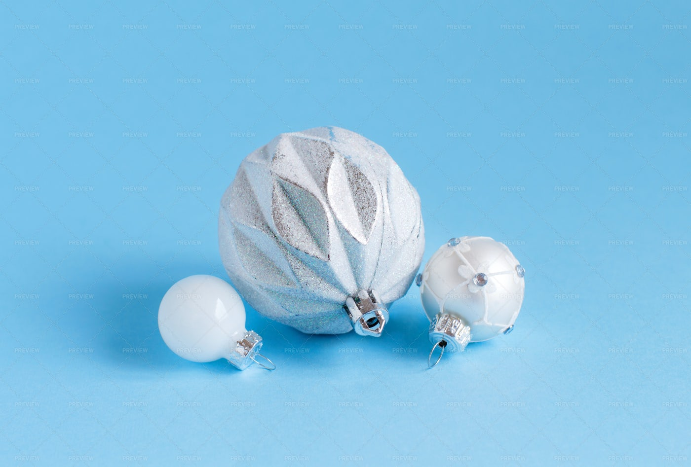 Silver And White Christmas Baubles: Stock Photos