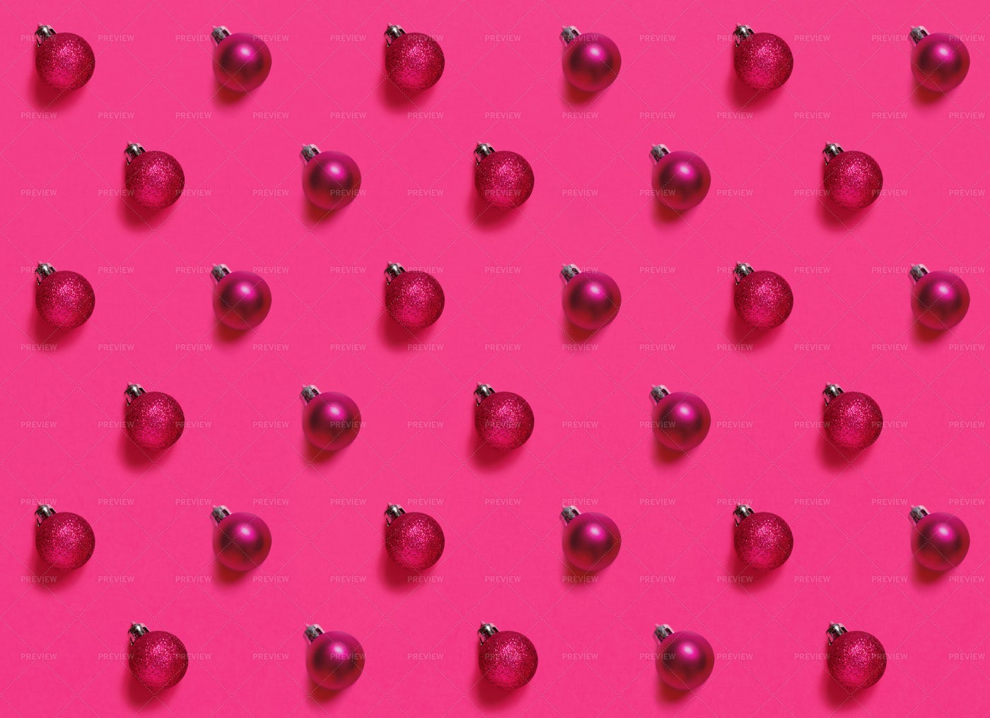 Pink Christmas Ornaments Pattern: Stock Photos