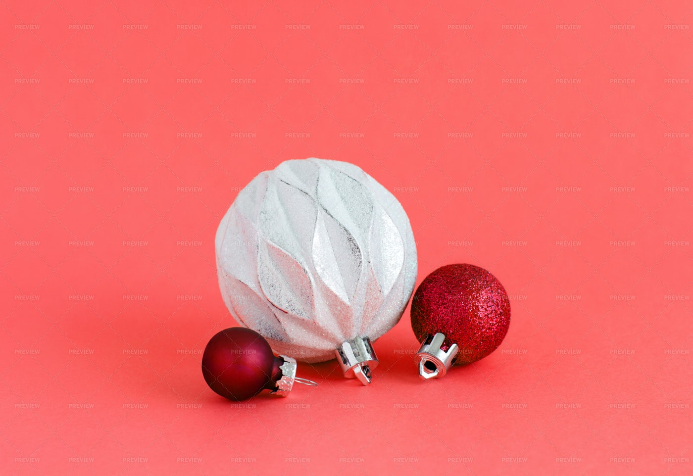 Red And White Christmas Ornaments: Stock Photos