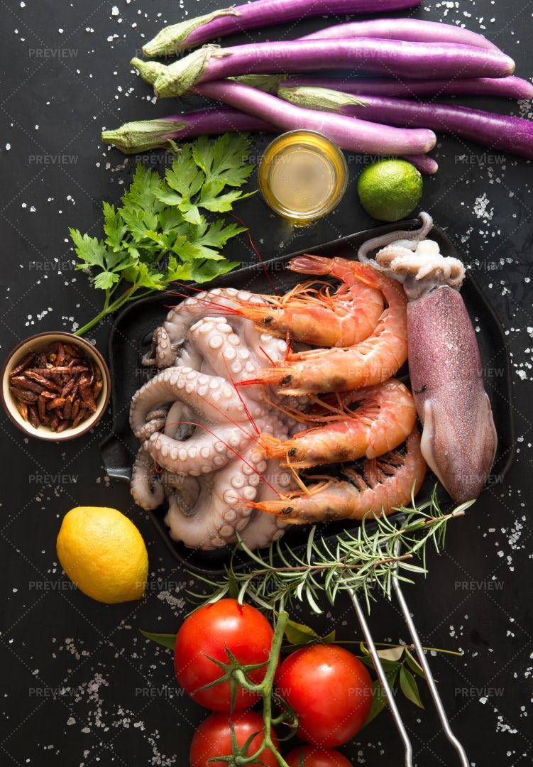 Grilled Seafood Ingredients: Stock Photos