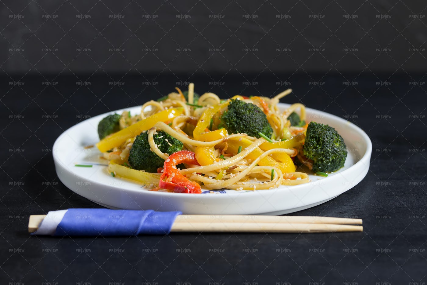 Udon Noodles With Vegetables: Stock Photos