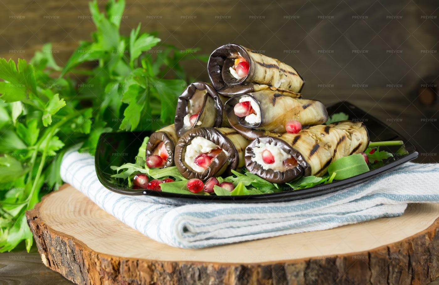 Grilled Eggplant Rolls: Stock Photos