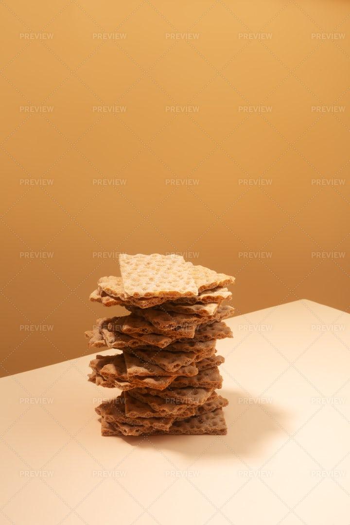 Crispbread Crackers On Beige: Stock Photos