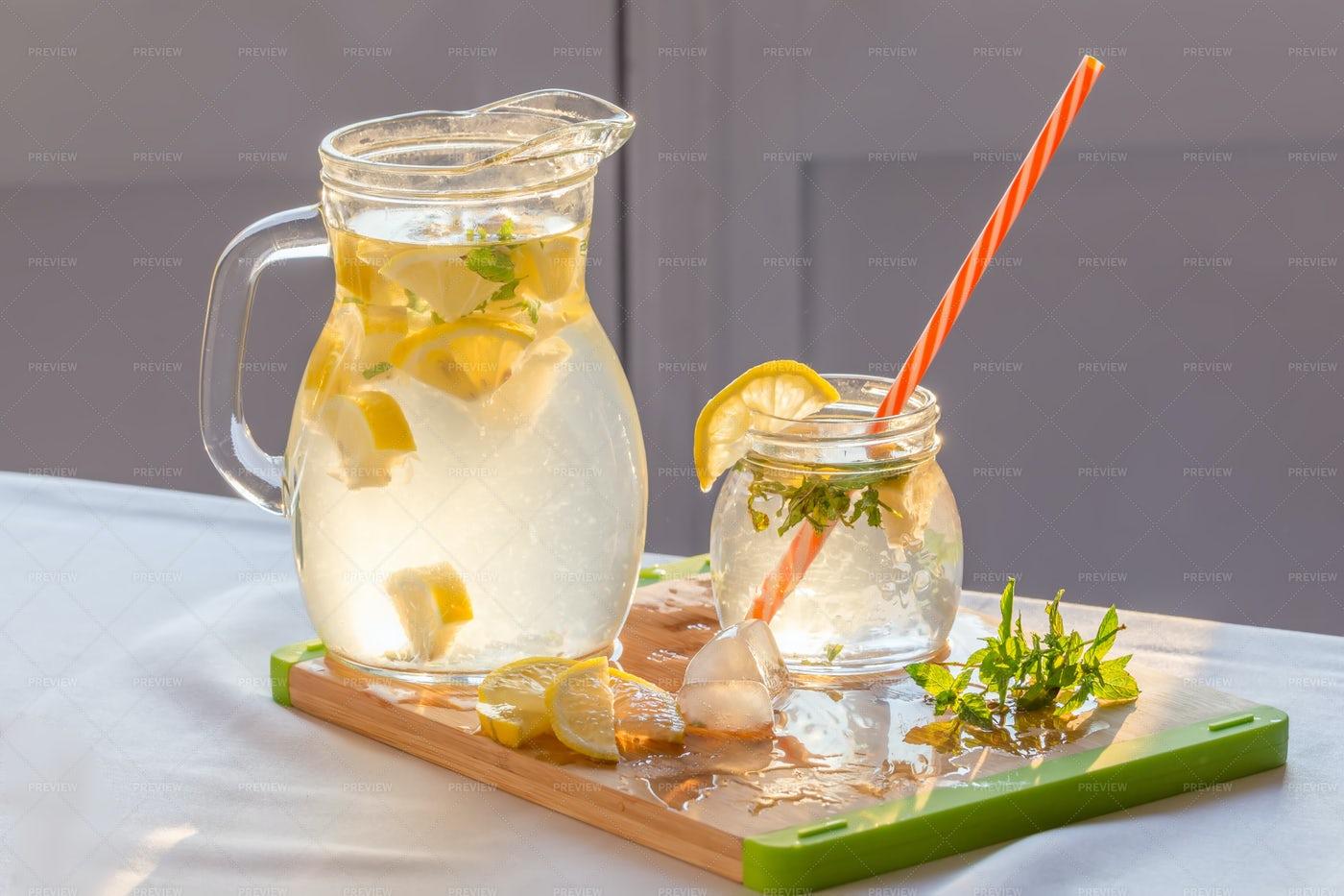 Homemade Lemonade With Mint: Stock Photos