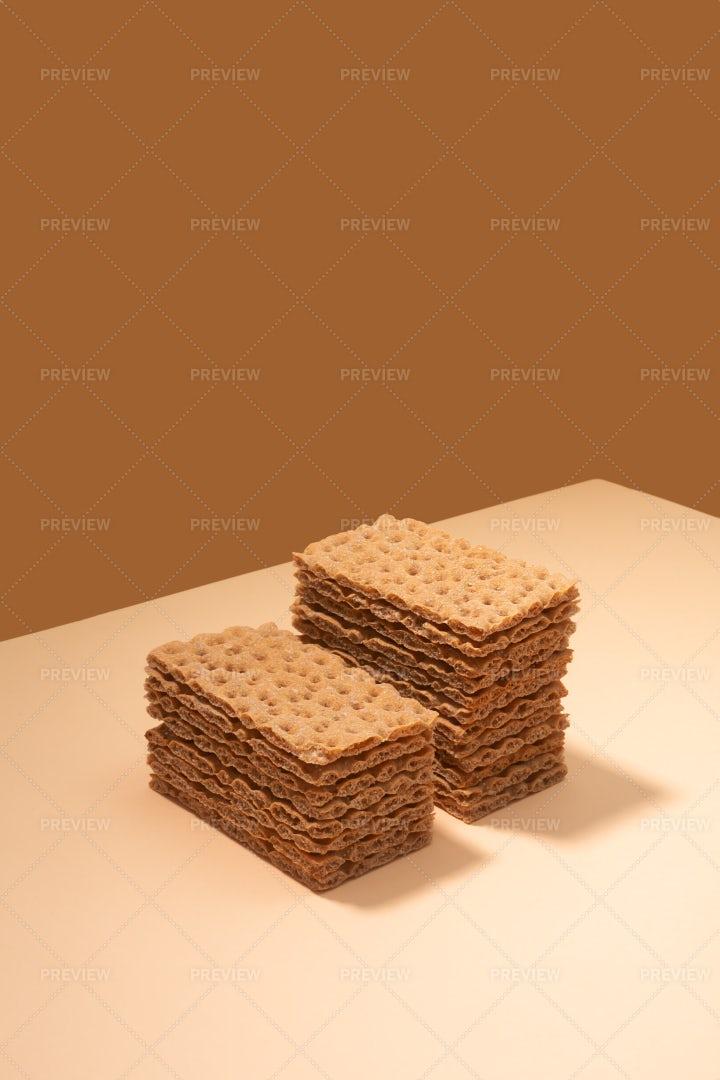 Crispbread Stacks On Beige: Stock Photos