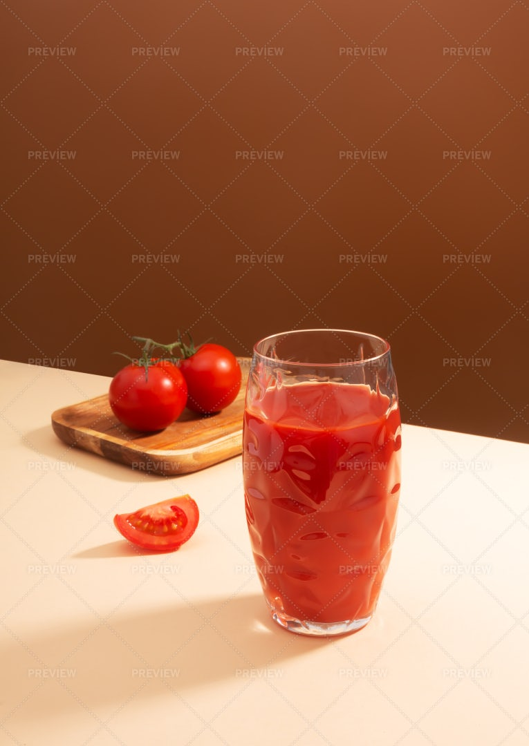 Tomato Juice And Two Tomatoes: Stock Photos