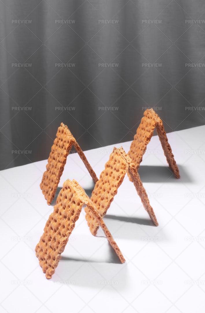 Crispbread Crackers On A White Table: Stock Photos