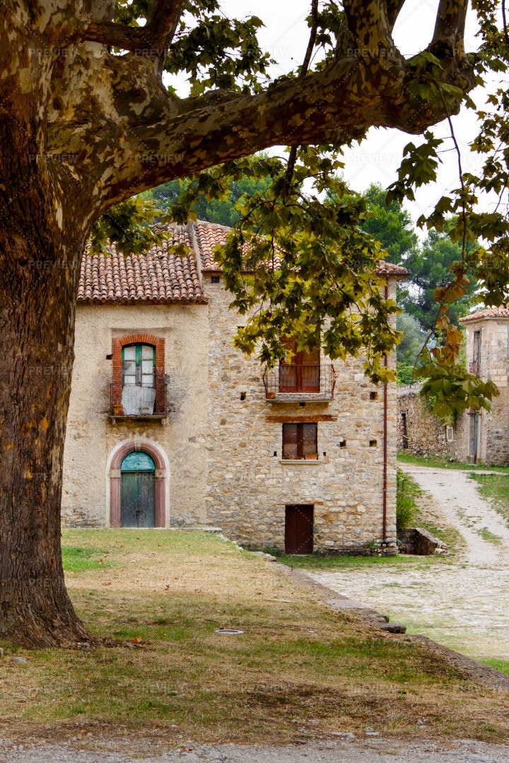 Rustic Stone Village In Italy: Stock Photos
