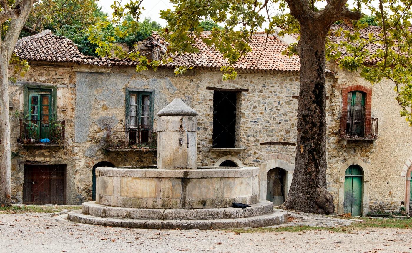 Rustic Italian Stone Fountain: Stock Photos