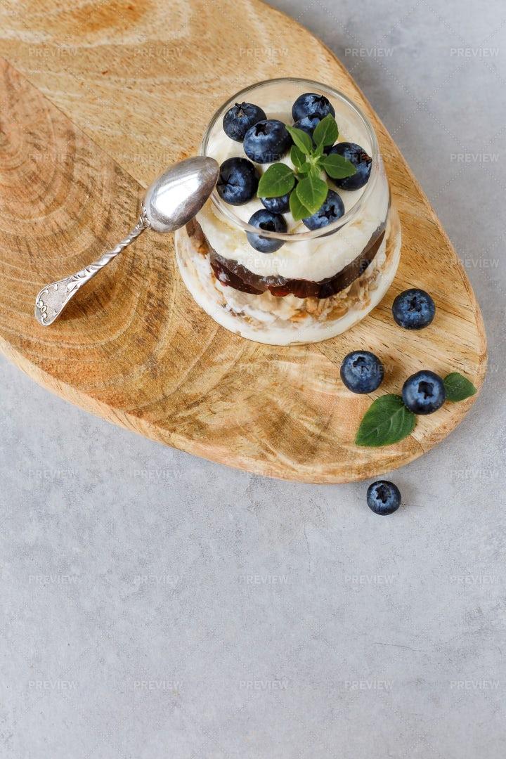 Granola Dessert With Blueberries: Stock Photos