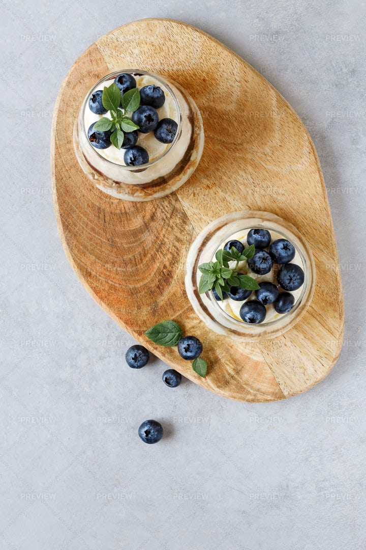 Blueberry Dessert With Curd Cream: Stock Photos