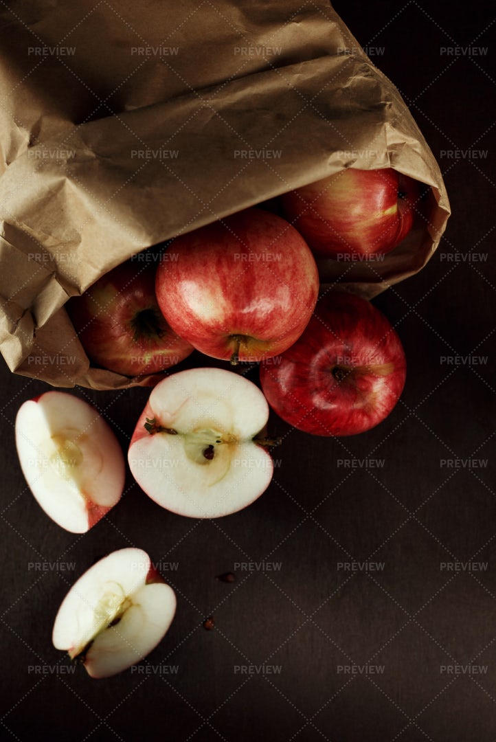 Bag Of Red Apples: Stock Photos