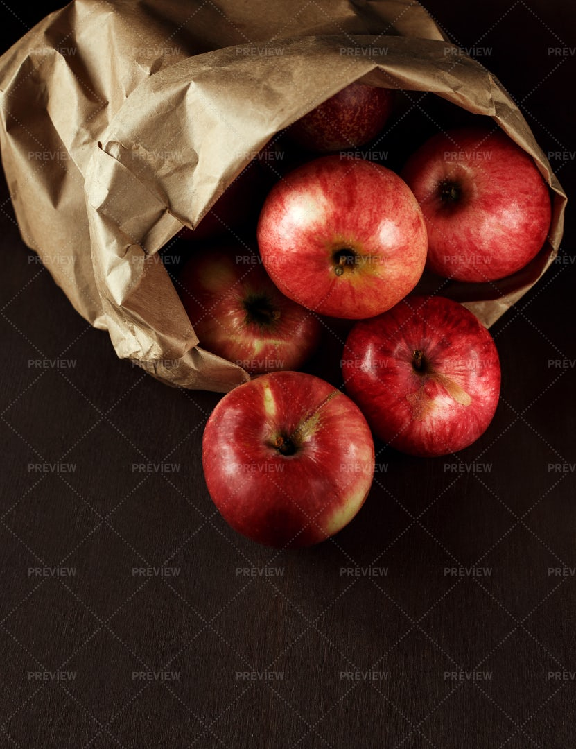 Bag Of Fresh Red Apples: Stock Photos