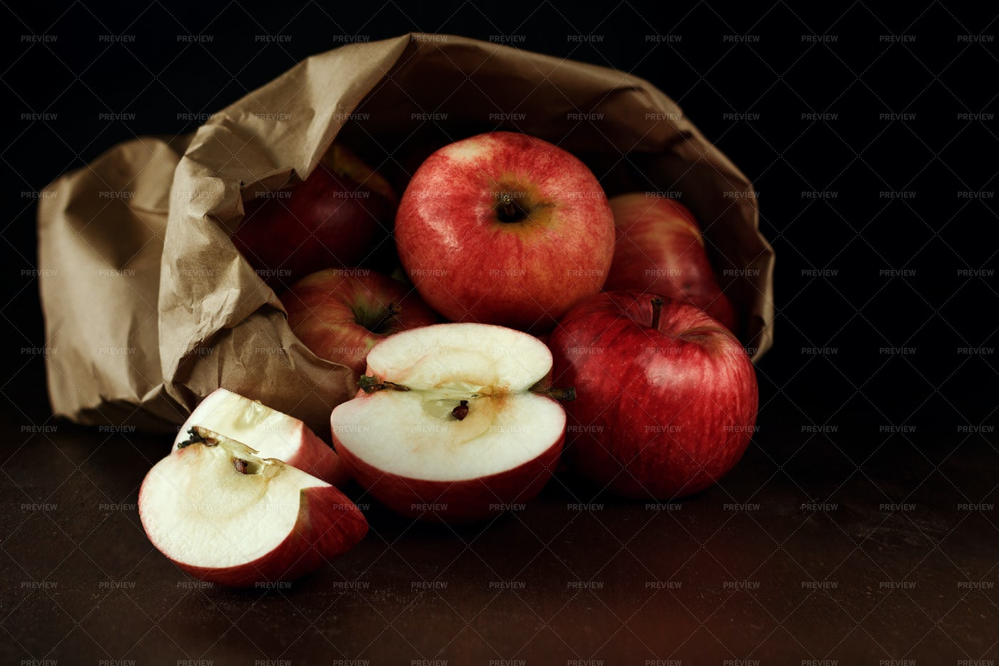 Red Apples In The Bag: Stock Photos